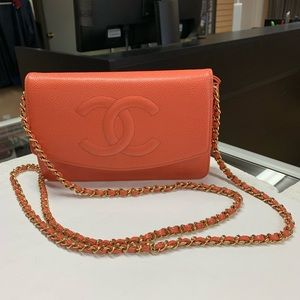 Authentic CHANEL CC Caviar Coral Wallet Chain WOC